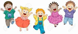 Kids hopping clipart