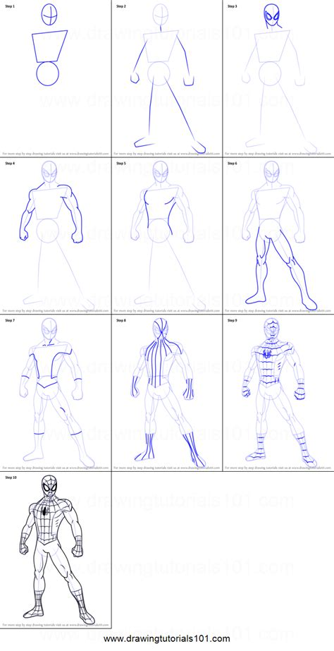 draw ultimate spider man printable step  step