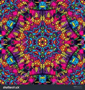 60s Hippie Psychedelic Art Seamless Pattern Stock Vector ...