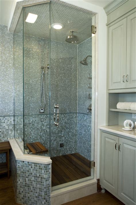 Spa Baths For Bathrooms by Spa Shower With Glass Tiles And Teak Floor Contemporary