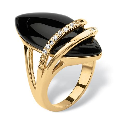 palmbeach jewelry marquise shaped genuine onyx with cubic zirconia accents 18k gold plated ring