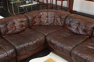 1970s six piece leather sectional sofa at 1stdibs With 6 pieces sectional sofa
