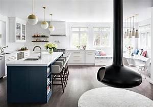 Blue Kitchen Island With Blue Striped Runner