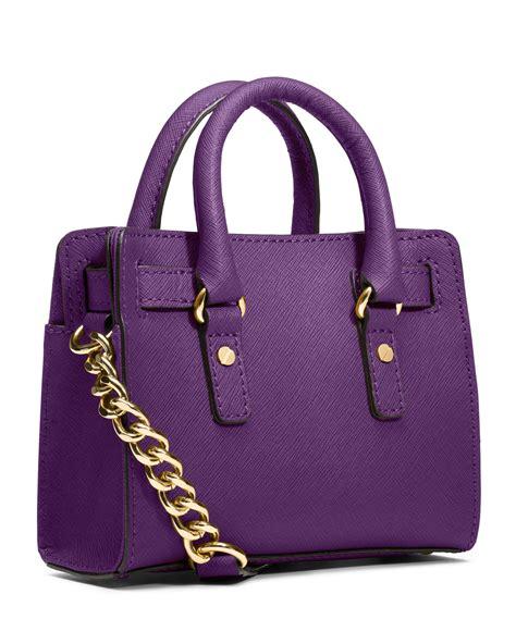 lyst michael kors michael mini hamilton messenger bag  purple