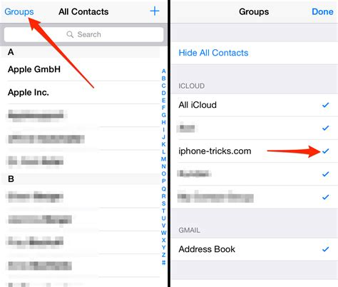 iphone contact contacts groups hide google contatti gmail delete affect gruppo spostare apple come synced does altro phone gestion appareil