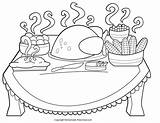 Thanksgiving Coloring Dinner Pages sketch template