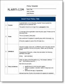 Policy Procedure Manual Template Free