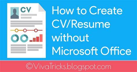 create cvresume  microsoft office cv