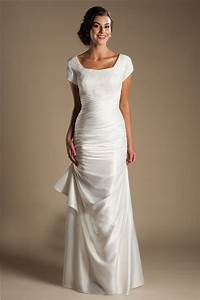 modest square neck cap sleeve silk satin ruched wedding dress With silk wedding dresses with sleeves