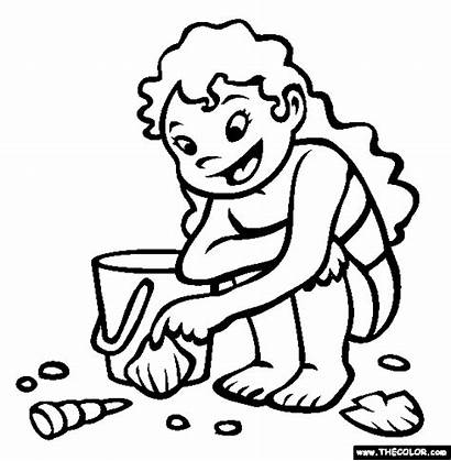 Shells Coloring Collecting Pages Cartoon Beach Sea