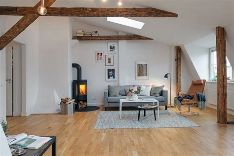 refurbished loft apartment  exposed wood beams
