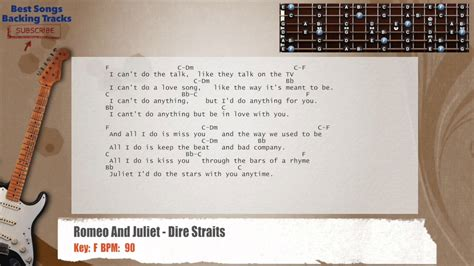 G, em, c, e, d. Romeo And Juliet - Dire Straits Guitar Backing Track with ...