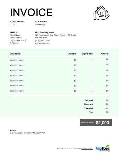 construction invoice template   send