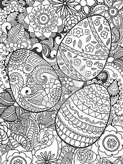 Easter Eggs And Flowers Coloring Page Stock Vector - Image