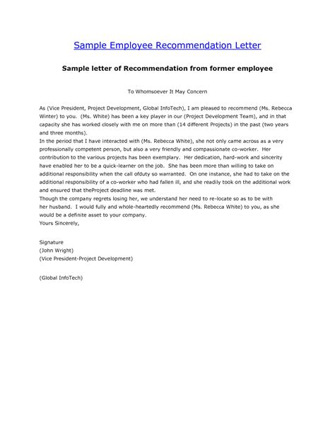 recommendation letter from employer letter of recommendation sles for employment how to 10869