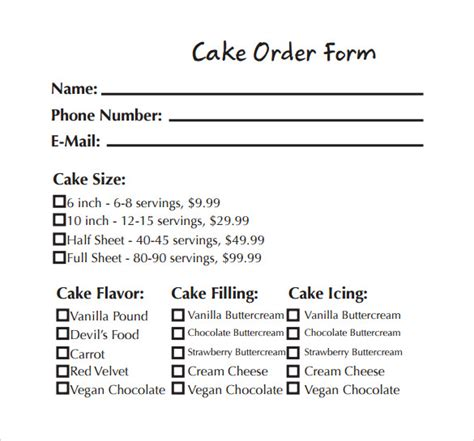 cake order form template sle cake order form template 13 free documents in word pdf