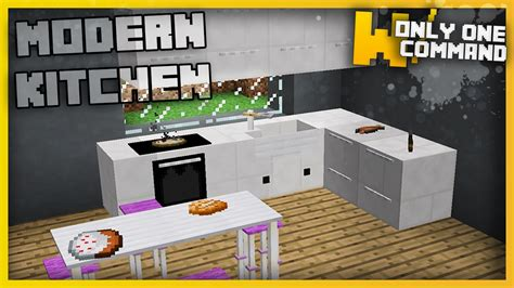 Minecraft  Modern Kitchen Furniture With Only Two Command