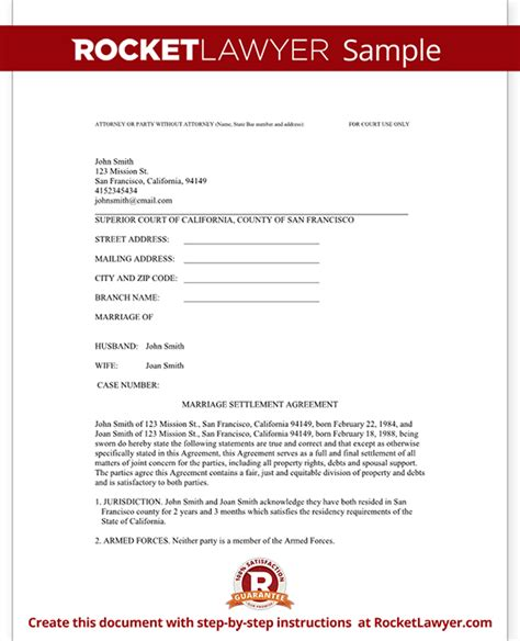 marital settlement agreement template divorce settlement agreement template with sle