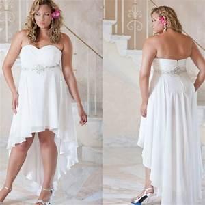 Plus size wedding dresses 2016 beaded white chiffon short for Beach plus size wedding dresses