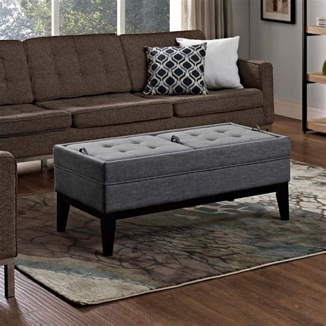 large storage ottoman bench simpli home avalon red faux leather large rectangular