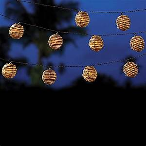outdoor solar powered 10 bulb wicker whitewash ball string With outdoor string lights bed bath and beyond