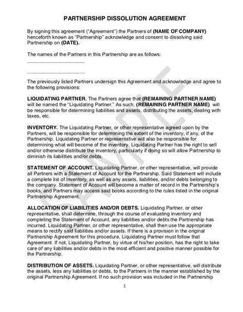 Partnership Dissolution Agreement – Legally FAB