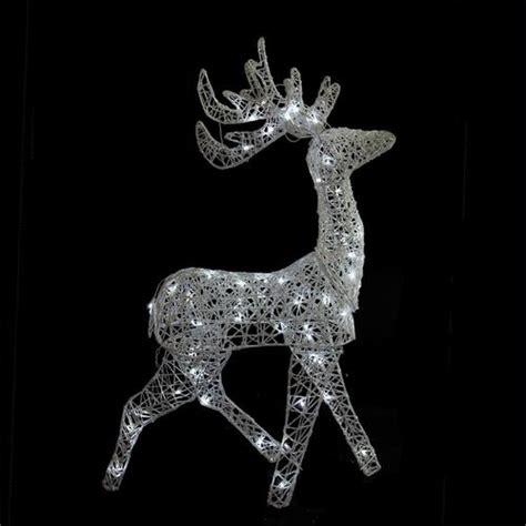 led reindeers 52 led lighted white glittered reindeer yard decoration christmascentral