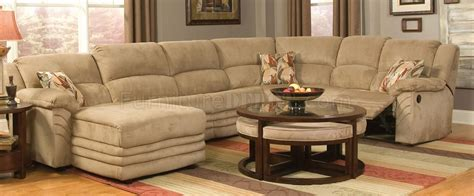 Beige Microfiber Cozy Sectional W/reclining Chaise