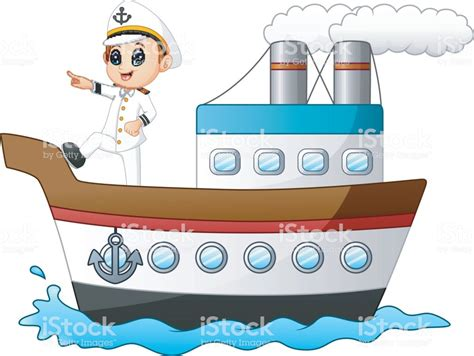 Management Boat Cartoon by Cartoon Ship Captain Pointing On A Ship Stock Vector Art