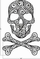 Skull Crossbones Sugar Coloring Adult Printable Tattoo Sheets sketch template
