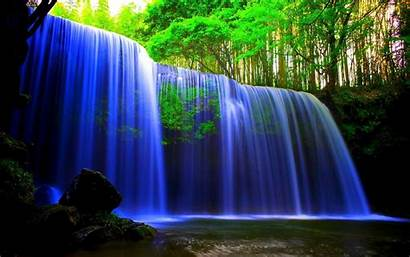 Waterfall Neon Wallpapers Water Nature River Motion