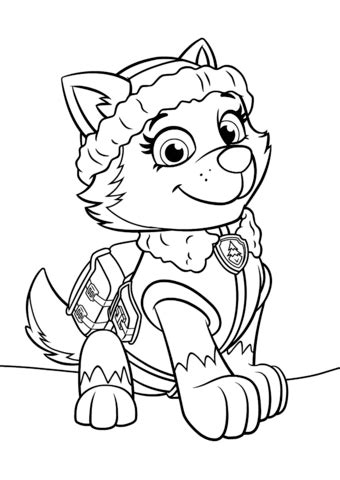 paw patrol everest coloring page  printable coloring pages