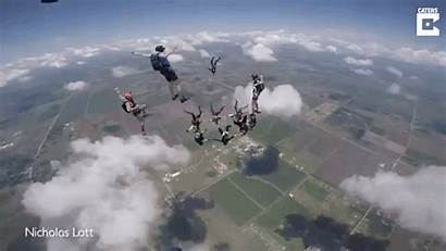 Through Human Ring Flying Air Mid Skydivers