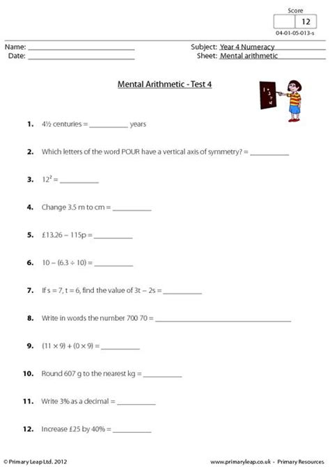 mental arithmetic test 4 primaryleap co uk