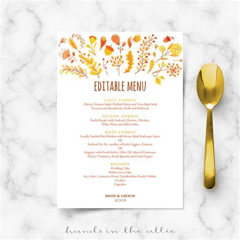 fall wedding menu template editable menu cards hands