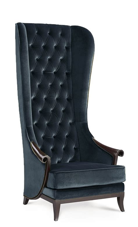 duchess high back wing chair midnight black velvet