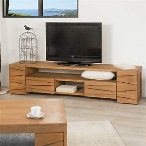 Meuble tv teck : meuble tv bois, naturel, rectangle, Sérénité, 170 x 50 cm