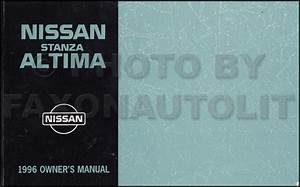 1996 Nissan Stanza Altima Repair Shop Manual Original