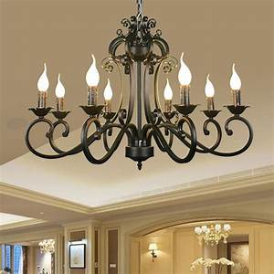 Dining Room Light Fixtures Country Ac110v 220v Home Ceiling Chandeliers Metal Iron Light