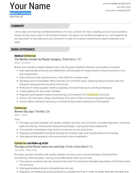 Esthetician Resume Exles by Esthetician Resume Template Yourmomhatesthis