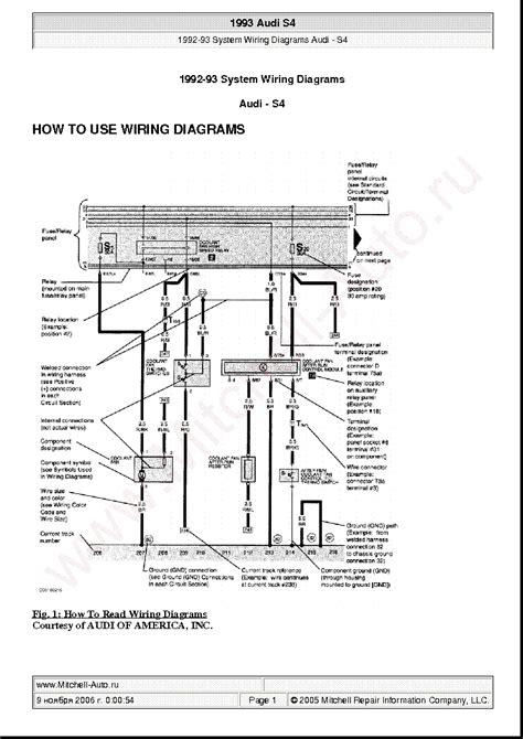 audi s4 1993 wiring diagrams service manual