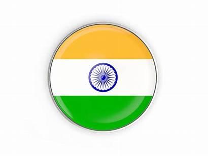 India Round Button Flag Frame Icon Metal