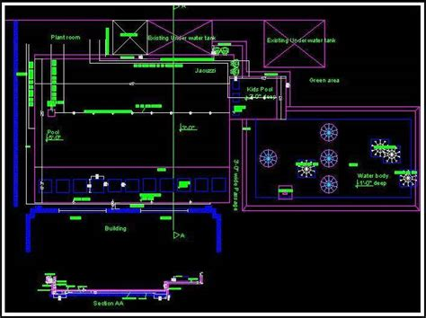 swimming pool layout plan and section plan n design