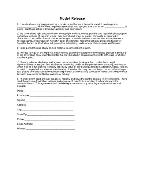 21799 photography model release form generic photography model release form