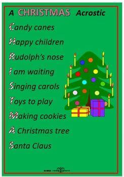christmas acrostic poems  templates  norah colvin tpt