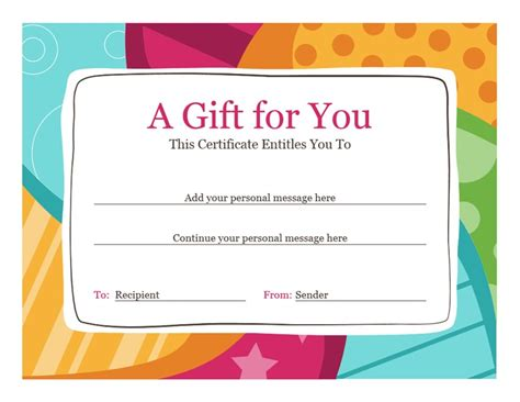 certificate of gift templates birthday gift certificate bright design