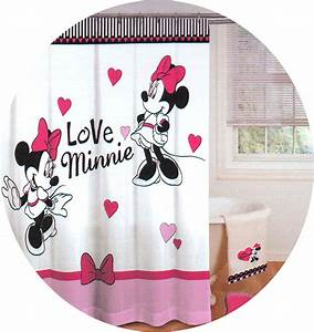 New disney minnie mouse love hearts shower curtain pink for Minnie mouse bathroom accessories