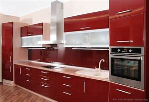 Pictures of kitchens modern red kitchen cabinets for Kitchen cabinet trends 2018 combined with papiers de divorce