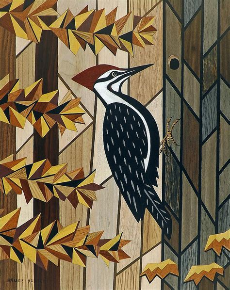 pileated woodpecker marquetry image painting  bruce bodden