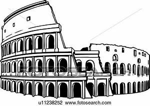 Clipart of illustration, lineart, coliseum, colosseum ...